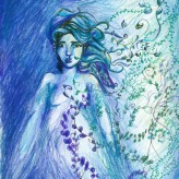 Cerulean Goddess, crayon and ink on paper.