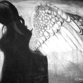 "Dark Angel, charcoal on 24x36"" paper."