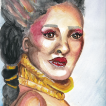 "Julie, watercolor on 9x12"" paper."