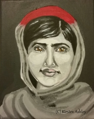 "Malala, acrylic on 8x10"" canvas."