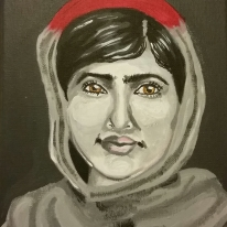 """Malala, acrylic on 8x10"""" canvas. Part of an ongoing portrait series of humanitarians."""