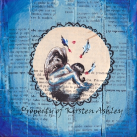"My Blue Angel, pen, acrylic, prayer book pages on 6x6"" canvas."
