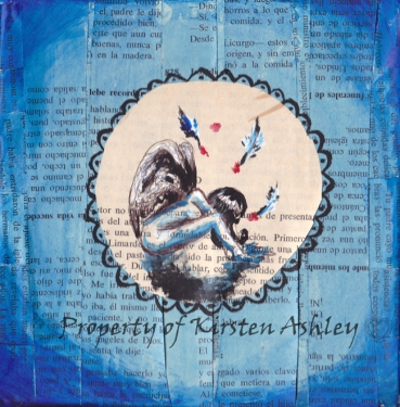 """My Blue Angel, pen, acrylic, prayer book pages on 6x6"""" canvas. Original available for purchase."""