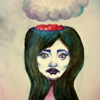 """Raining In My Head, 9x12"""" watercolor on paper."""