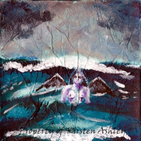 "The Power of the Sea, acrylic over tissue paper on mounted 6x6"" canvas. Original has been sold."