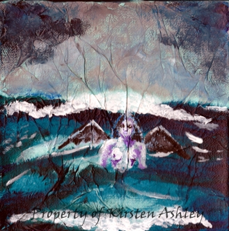 """The Power of the Sea, acrylic over tissue paper on mounted 6x6"""" canvas."""
