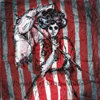 "Victorian Wraith, printed tissue paper, micron pen, acrylic, printed tissue paper on 6x6"" canvas."
