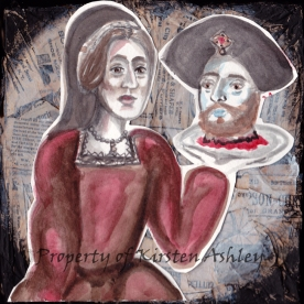 "Ann and Henry, decorative tissue paper, watercolor, acrylic, and cut paper on 6x6"" canvas."