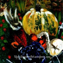 The demonstration image I painted for a painting class featuring pumpkins, gourds, cabbage, and maize.