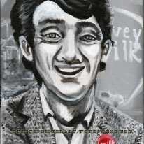 """""""Harvey Milk""""- 8x10"""" acrylic portrait on canvas. This is part of a long-term portrait project for a private collector."""