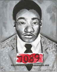 """Martin Luther King, Jr""- 1x10"" acrylic portrait on canvas, This is part of a long-term portrait project for a private collector."