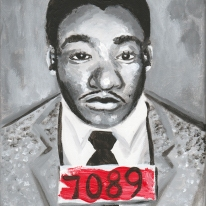 """""""Martin Luther King, Jr""""- 1x10"""" acrylic portrait on canvas, This is part of a long-term portrait project for a private collector."""