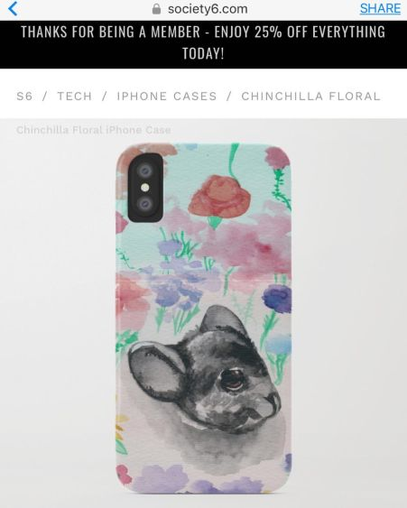chinchilla floral society6 screenshot