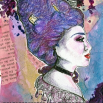 Acrylic, stamping, cut paper, book pages, colored pencil.