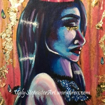 """Acrylic, watercolor, gold leaf on 16x20"""" canvas."""