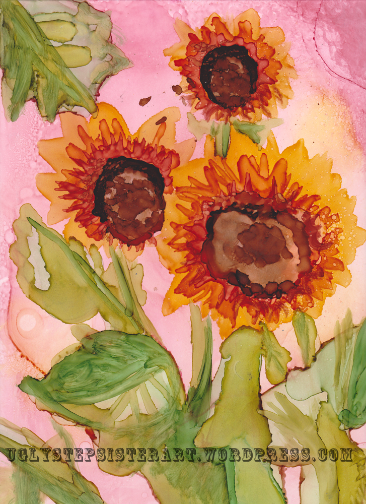 sunflowers alcohol ink watermarked