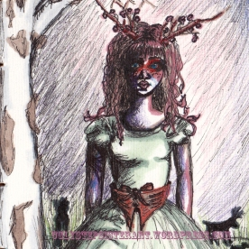 Deer Girl sketch. Created while attending a library program on Biggs Museum at the Lewes Library. Color added with colored pencil, marker.