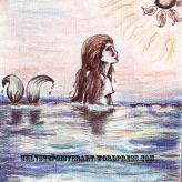 Mermaid sketch- micron, colored pencil.